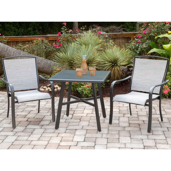 Wrenn 3-Piece Commercial-Grade Bistro Set with 2 Sling Dining Chairs and a 30 inch  Square Slat-Top Table by Charlton Home