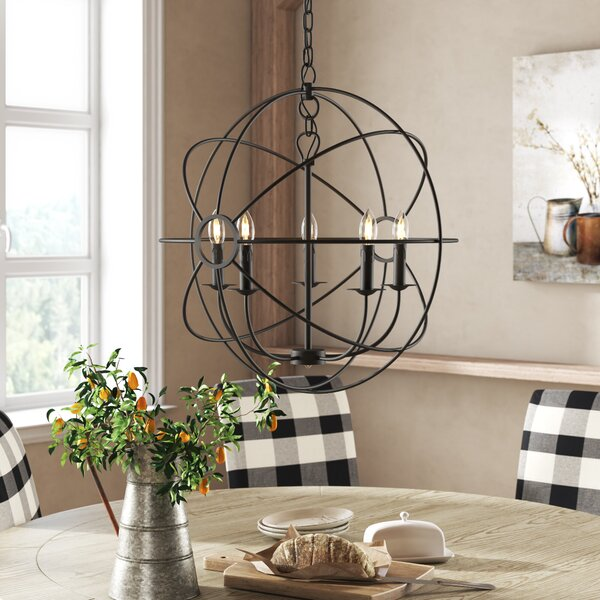 Padilla 5 - Light Candle Style Globe Chandelier by One Allium Way One Allium Way
