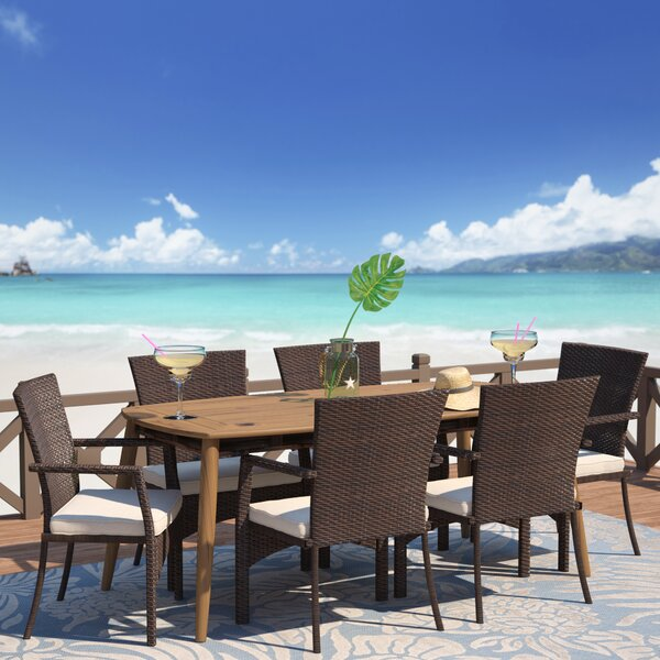 Soeren 7 Piece Dining Set with Cushions by Highland Dunes