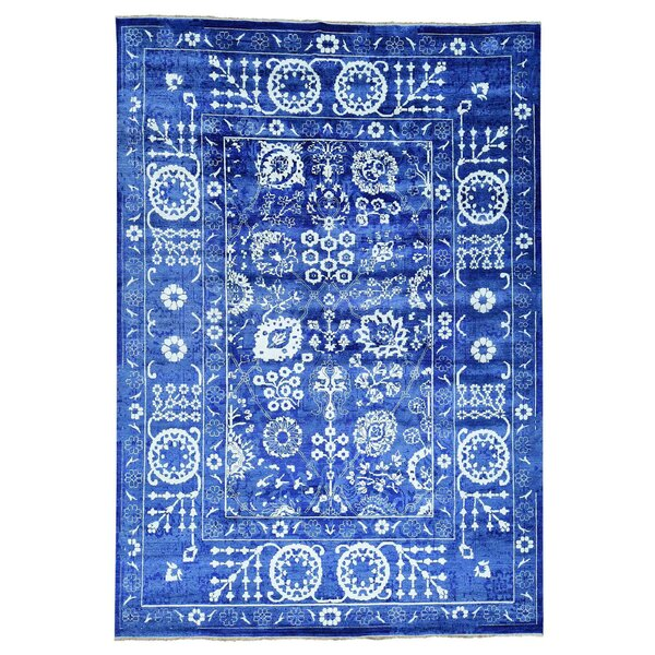 One-of-a-Kind Tabriz Hand-Knotted Blue Area Rug by Bungalow Rose
