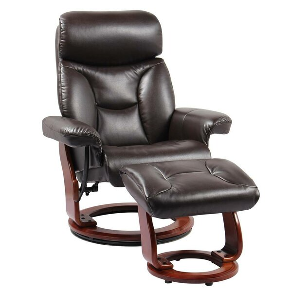 Narron Leather Manual Swivel Recliner with Ottoman by Latitude Run