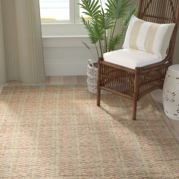 Abia Hand-Woven Cotton Tan Area Rug by Highland Dunes