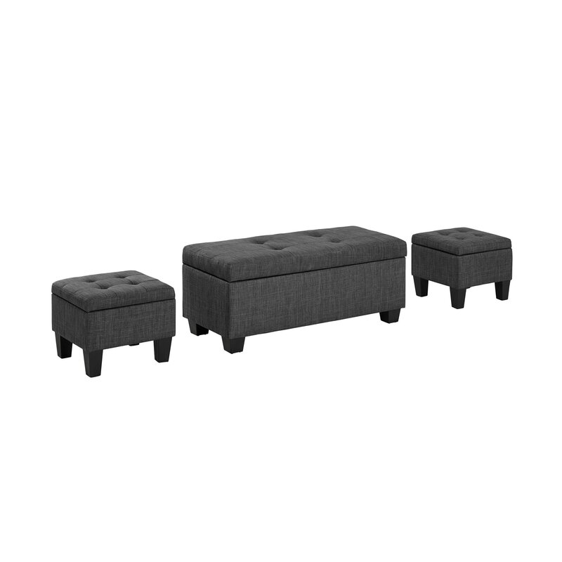 Incredible Hirsh 3 Piece Storage Ottoman Set Ncnpc Chair Design For Home Ncnpcorg