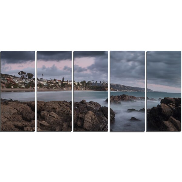 Heavy Rain Clouds over Crescent Bay 5 Piece Photographic Print on Wrapped Canvas Set by Design Art
