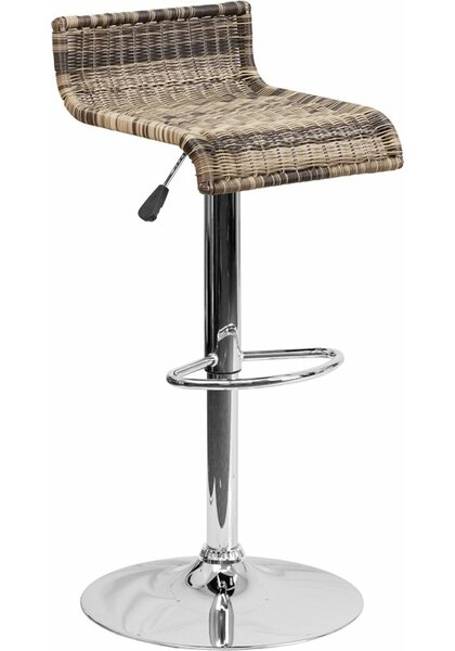 Pervez Wicker 2 Low Back Adjustable Height Swivel Bar Stool by Highland Dunes
