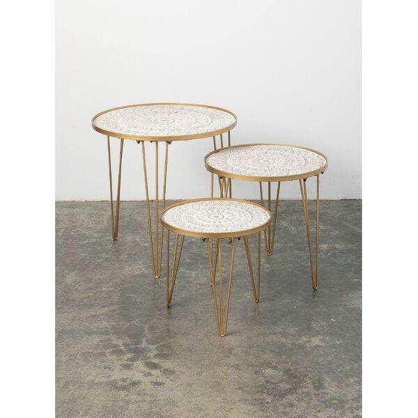 Home & Garden Moey 3 Piece Tray Top 3 Legs Nesting Tables