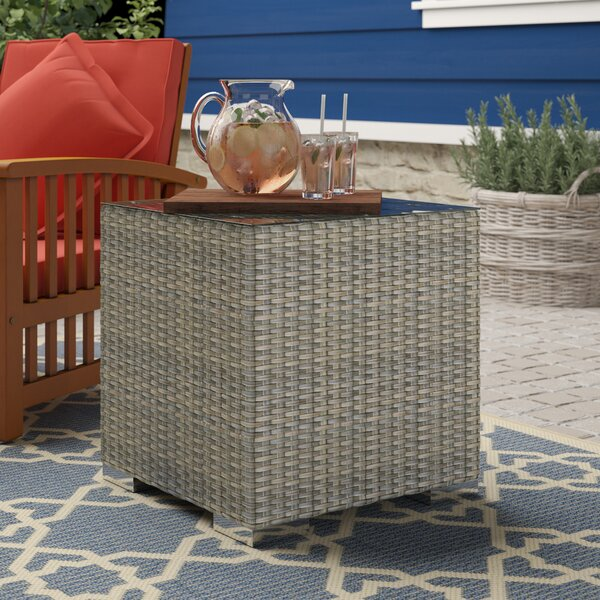 Jenecke Glass Side Table by Highland Dunes