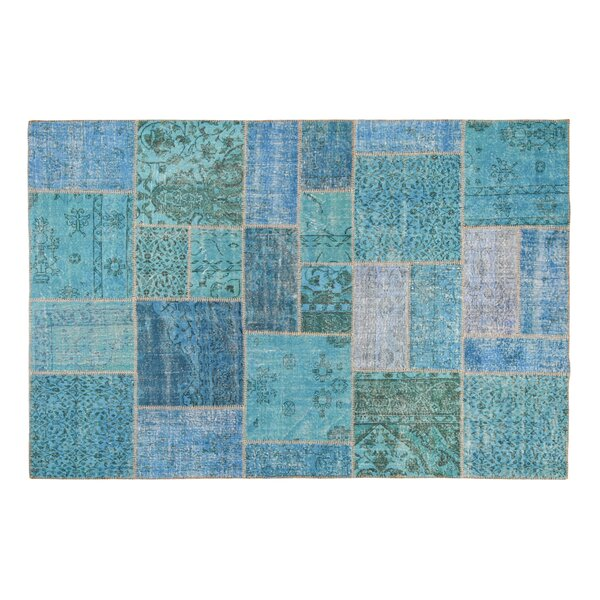 Usak Patchwork Handmade Blue Area Rug by La Viola Décor