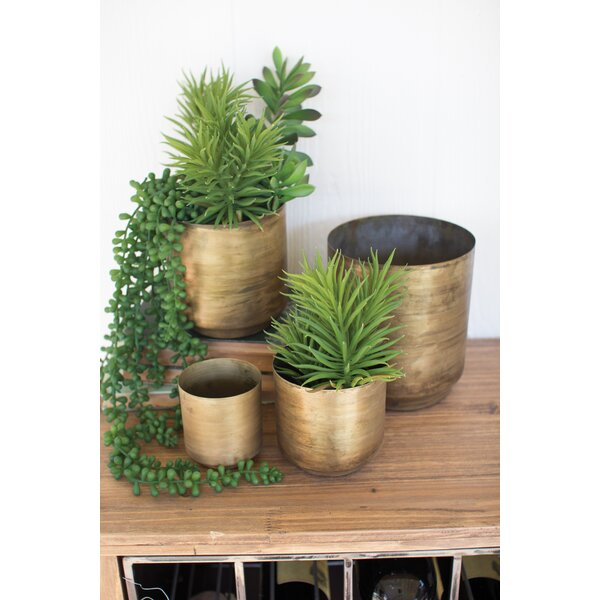 Verner Flower 4 Piece Metal Pot Planter Set by George Oliver