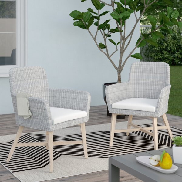 Dieter Teak Patio Dining Chair with Cushion (Set of 2) by Corrigan Studio