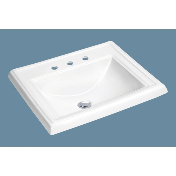 Top Mount Vitreous China Rectangular Drop-In Bathroom Sink with Overflow by Soleil