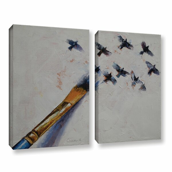 Birds by Michael Creese 2 Piece Painting Print on Gallery Wrapped Canvas Set by ArtWall