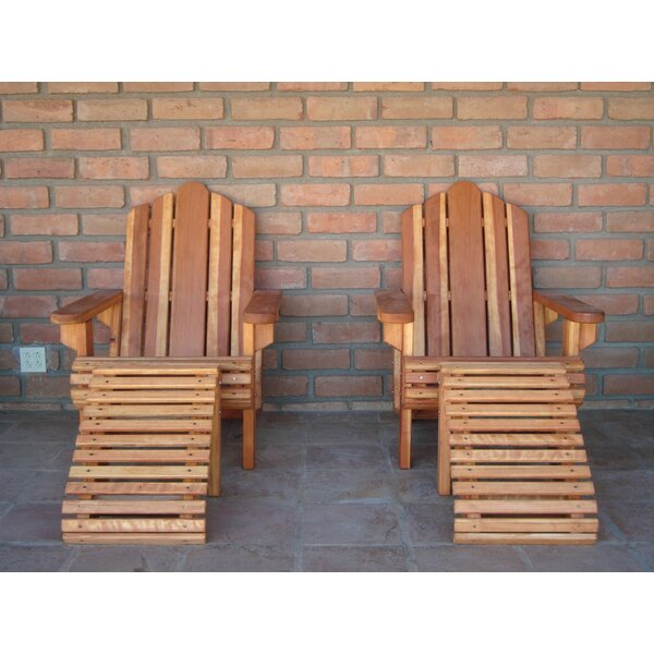 Acklins Wood Adirondack Chair with Ottoman by Rosecliff Heights