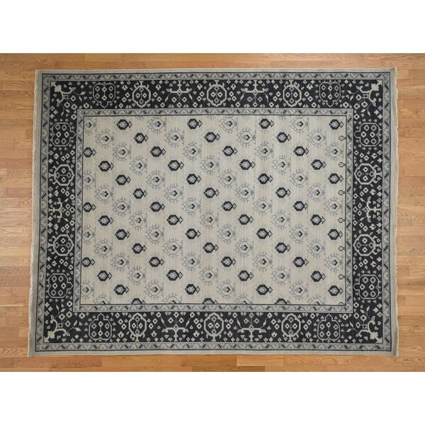One-of-a-Kind Gains Boteh Design Cropped Thin Hand-Knotted 8' x 10' Wool Black/Beige Area Rug by Isabelline