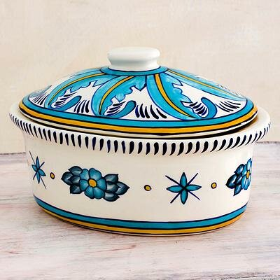 Oval Ceramic Casserole Dish and Lid by Novica