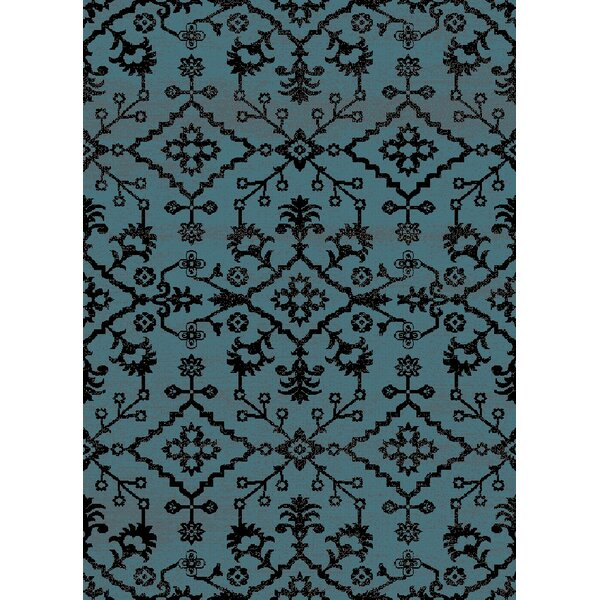 Auston Anti-Bacterial Blue/Black Indoor/Outdoor Area Rug by Bungalow Rose