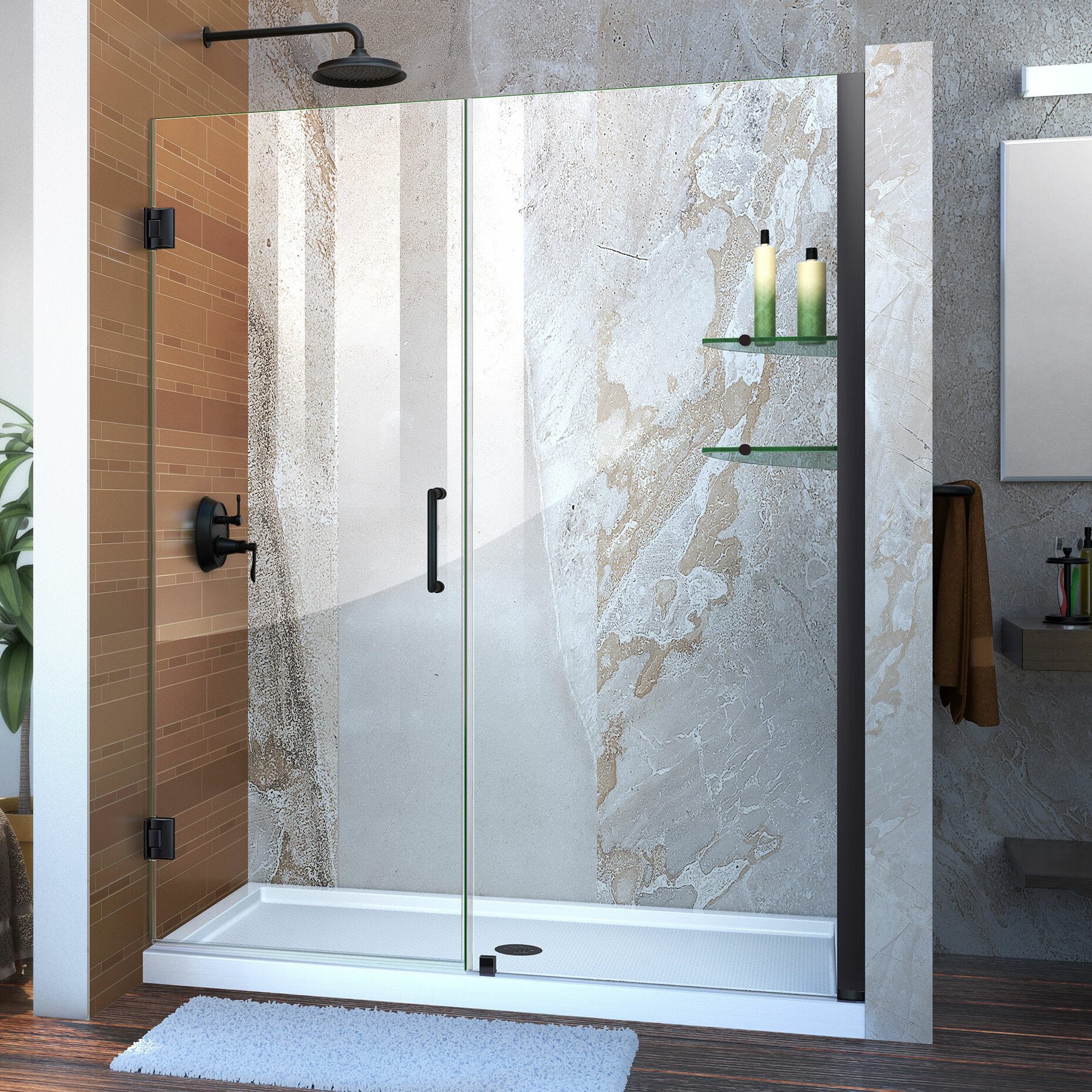 Unidoor 60 X 72 Hinged Frameless Shower Door With Clearmax Technology