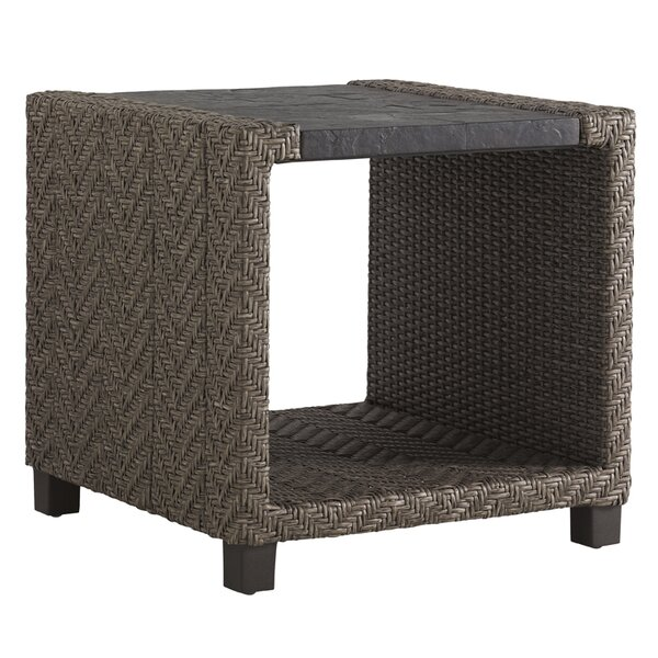 Blue Olive Wicker Rattan Side Table by Tommy Bahama Outdoor