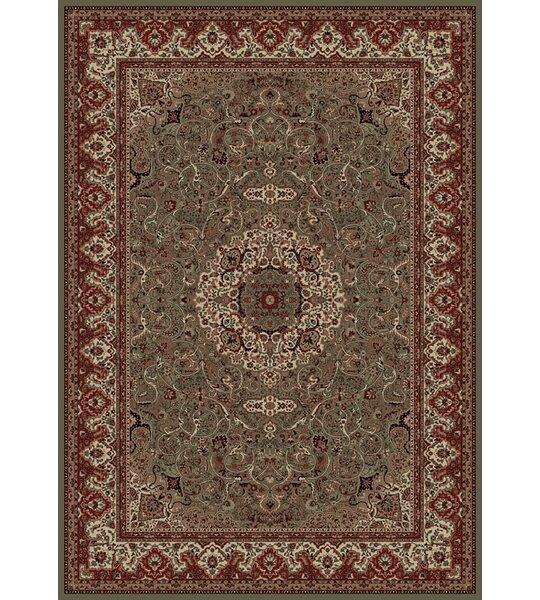 Izaiah Persian Classics Green/Red Oriental Isfahan Area Rug by Alcott Hill