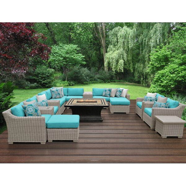 Claire 15 Piece Rattan Sectional Seating Group with Cushions by Rosecliff Heights
