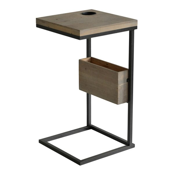 Rank Contemporary Metal and Wood End Table by Williston Forge