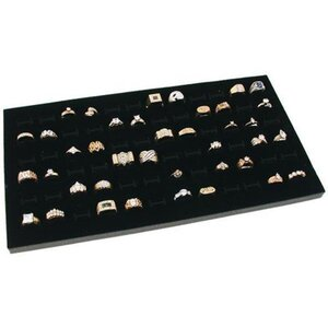 Glass Top 72 Slot Ring Tray Jewelry Display Case
