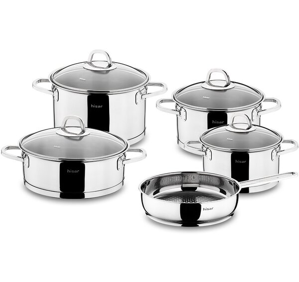 Rio 9 Piece Stainless Steel Cookware Set by Hisar