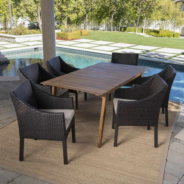 Geren Outdoor 7 Piece Dining Set with Cushions by Ivy Bronx