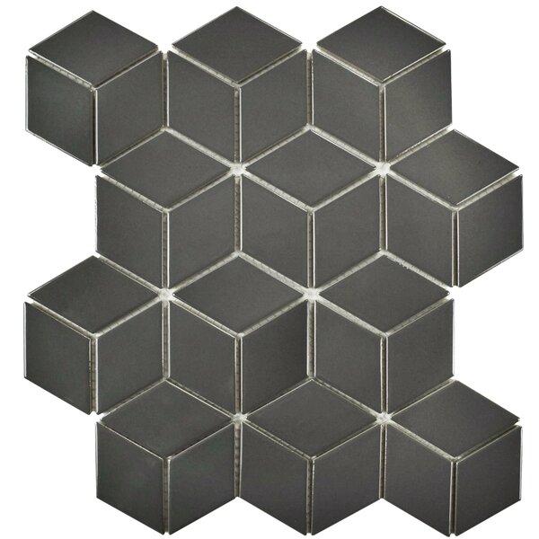 Retro Rhombus 1.88 x 3.18 Porcelain Mosaic Tile in Glossy Gray by EliteTile