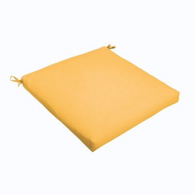 "Indoor/Outdoor Dining Chair Cushion Fabric: Butter Yellow, Size: 20"" L x 20"" W"