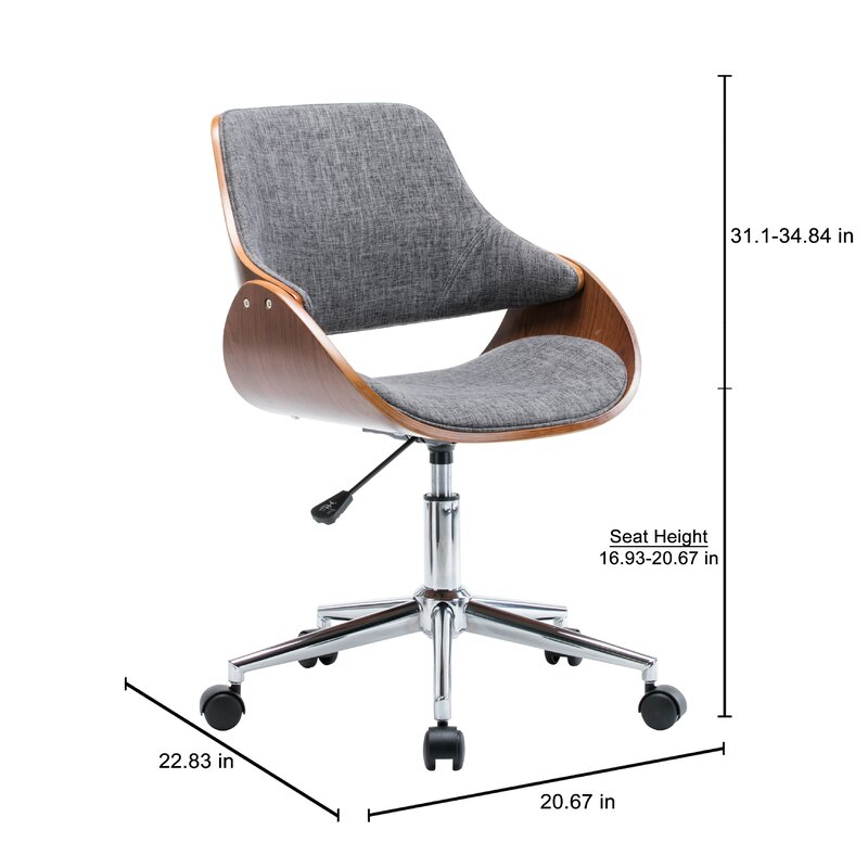 Dimatteo Adjule Height Office Chair With Caster Wheels