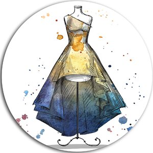 'Mannequin with Long Dress' Graphic Art Print on Metal by Design Art