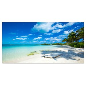 Tropical Beach with Palm Shadows Large Seashore Photographic Print on Wrapped Canvas by Design Art