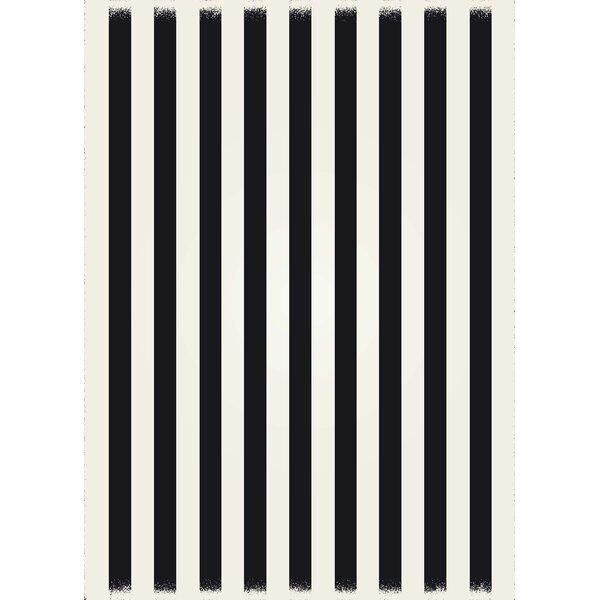Cousar Strips of European Black/White Indoor/Outdoor Area Rug by Ebern Designs