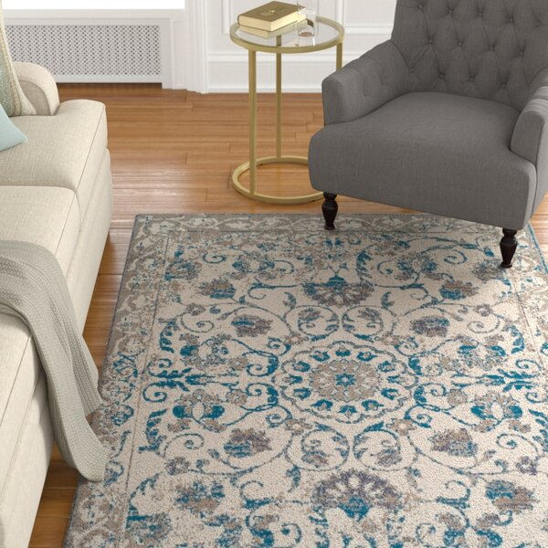 Innisbrook Traditional Vintage Distressed Scatter Blue Indoor/Outdoor Area Rug by Charlton Home