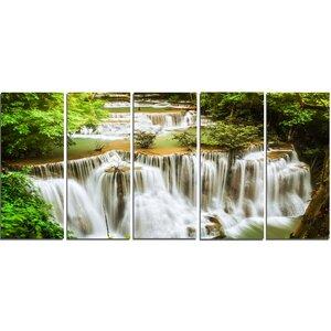 Green Huymea Kamin Waterfall 5 Piece Wall Art on Wrapped Canvas Set by Design Art