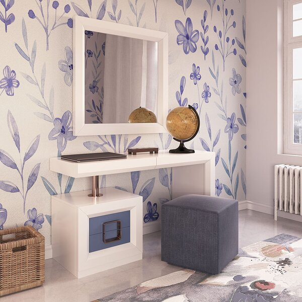 Lucey Vanity Set with Stool and Mirror by Everly Quinn Everly Quinn