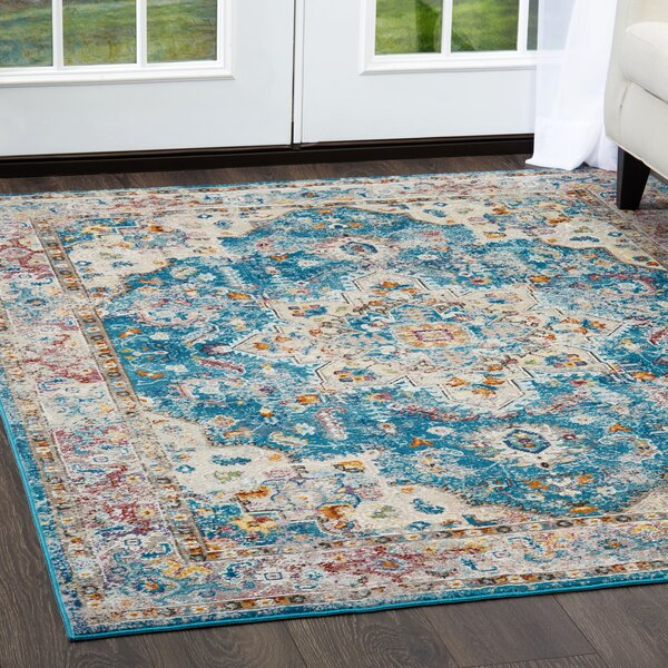 Parlin Diamond Aqua Area Rug by Nicole Miller
