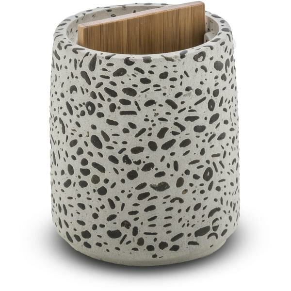 Achilles Round Cement and Bamboo Toothbrush Holder by Bloomsbury Market
