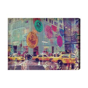 NYC Fashion Taxi Graphic Art on Wrapped Canvas by Oliver Gal