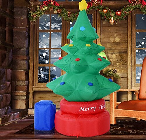 Rotating Animated Christmas Tree LED Lighted Outdoor Air Blown Inflatable by The Holiday Aisle
