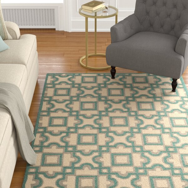 Childers Hand-Hooked Ivory / Aqua Indoor / Outdoor Area Rug by Charlton Home