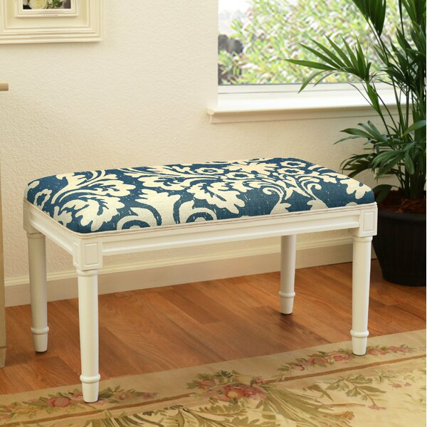 Azurine Jacobean Floral Wood Bench by House of Hampton