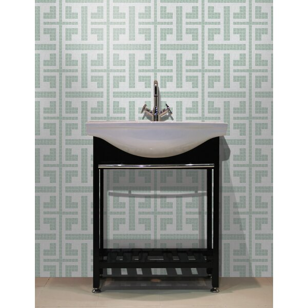 Urban Essentials Geometric Lattice 3/4 x 3/4 Glass Glossy Mosaic in Placid Turquoise by Mosaic Loft