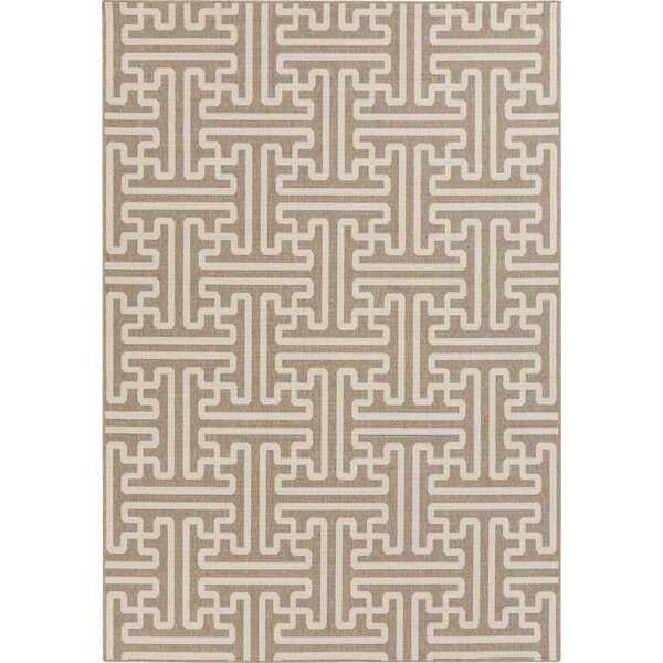 Borquez Camel / Cream Outdoor Area Rug by Mercury Row