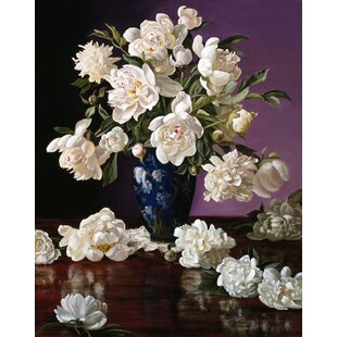 White peonies in vase wayfair white peonies in blue chinese vase photographic print mightylinksfo