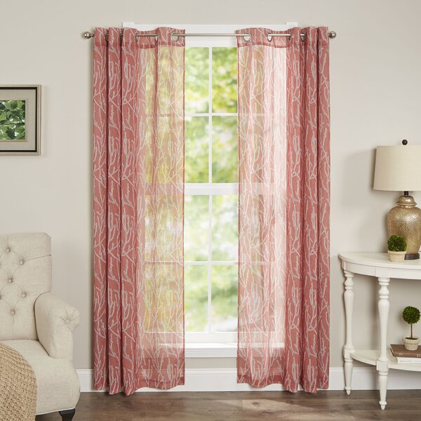 Brechin Nature/Floral Semi-Sheer Grommet Single Curtain Panel by Andover Mills