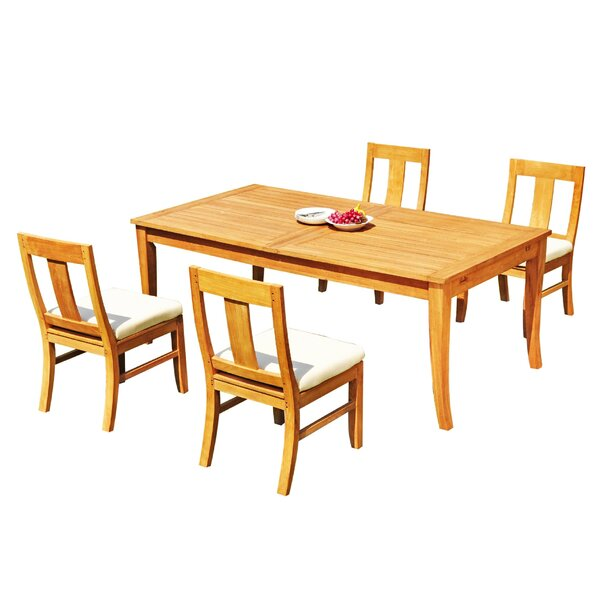 Hassan 5 Piece Teak Dining Set by Rosecliff Heights
