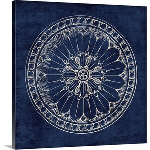 Rosette I Graphic Art on Wrapped Canvas in Indigo by Great Big Canvas