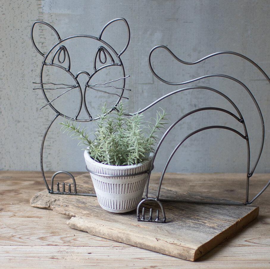 Ebern Designs Castanon Wire and Clay Cat Pot Planter | Wayfair